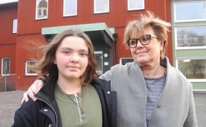 Meja Hansson, tillsammans med rektor Lotta Arenvall, kunde se tillbaka på en dramatisk morgon, men med lycklig utgång.
