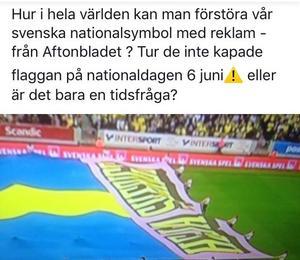 Björn Klingmalm dokumenterade flaggreklamen, genom att fotografera rutan, innan han anmälde den. Bild från hans Facebooksida.