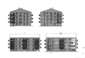 Skissen visar de fyra våningar höga hyreshusen med träfasader som Acasa Bostad AB vill bygga i Djurås. Skiss: Arkitekt Rolf Bergsten/Acasa