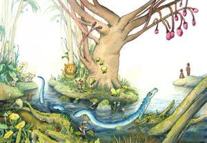 Ormen, Eva och Adam.  Illustration av Marcus-Gunnar Petterssons i  nya