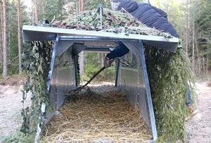 Tobias Nordlander har släppt säkerhetskedjan och petar med en pinne under gillerplåten för att simulera ett bökande vildsvin...