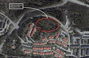 Det inringade området ligger i närheten av Haparandavägen i Granloholm. Här planeras det för omkring sex nya villatomter.