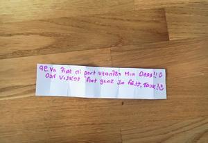 Nissen meddelar sig genom små meddelanden som han lägger i sin brevlåda.