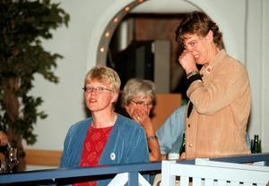 1998. Socialdemokraterna höll till på Folkets Park i Sundsvall. Ewa Back och Lena Österlund väntar med spänning på resultatet.