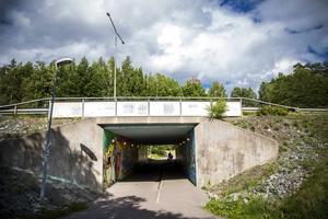 Målningen finns i gångtunneln under Korsnäsvägen, bakom Willys i Norslund.