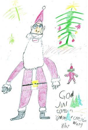 tomte. Christian Wang, 8 år, har ritat den fina tomten med sin nisse som hjälper till.