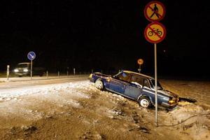 Bilen kördes av vägen i höjd med Optand.. Foto: Ulrika Andersson