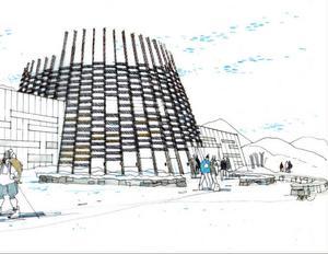 """En idéskiss på hur Sylarnas fjällstation skulle kunna komma att  se ut i framtiden. Anläggningen ska hämta inspiration från den samiska kulturen och ha en arkitektur som """"bjuder in naturen"""". Tanken är att den nya stationen ska bli navet för turismen i området. """"En motor som driver utvecklingen av turistnäringen behövs i Sylarnaområdet"""", skriver STF."""
