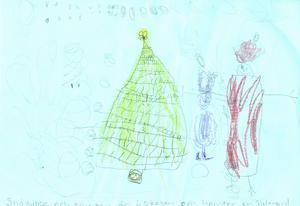 Mirina 5år från Kungsgården, har ritat en snögubbe och tomte som är i skogen och hämtar en julgran. God Jul!
