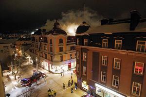 Storbrand i Östersund. Anrika Centralpalatset eldhärjades i januari 2017.