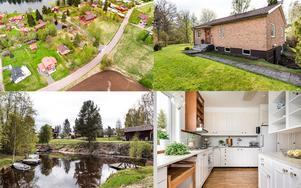 Villa med egen brygga vid strandkanten och stor tomt på över 3000 kvadratmeter.
