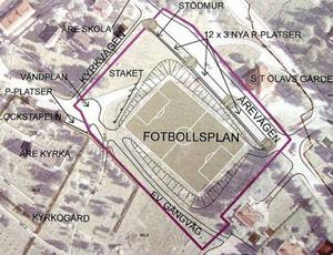 Detalj ur plankontorets illustration i planprogrammet som visar hur bollplanen ska placeras.