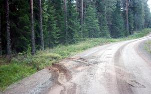 Här längs skogsbilvägen slutade den dramatiska biljakten med att 43-åringen körde rakt in i ett träd. FOTO: LEIF OLSSON