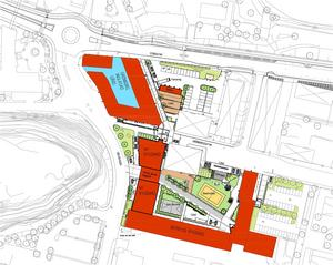 Här är en områdeskarta över nya Campus Sundsvall.
