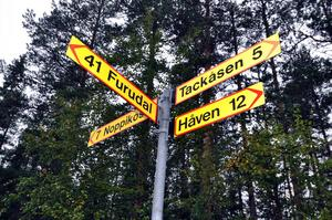 Namnen och avstånden på på skyltarna visar ungefär var Håven ligger och hur stora avstånden är.
