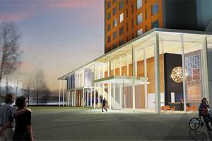 En framtidsskiss på det nya hotellet som planeras i Härnösand.