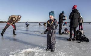 Ruben Pettersson, 5 år, försöker lura en en fisk medan han njuter av en chokladbit.