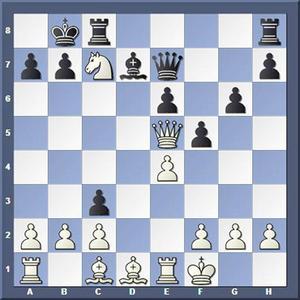 Vad spelade vit?Lösning: 1. Sa6++ Ka8 2.Db8+ Txb8 3.Sc7 matt.