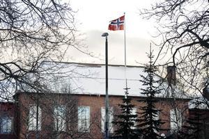 Den norska flaggan vajar över Wargentinsskolan.