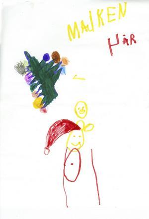 Majken 4år från Hedesunda, har ritat en julgran och en tomte. God Jul!