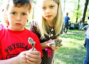 Casper Björkman och Celina Hast försöker locka i väg två av fjärilarna.