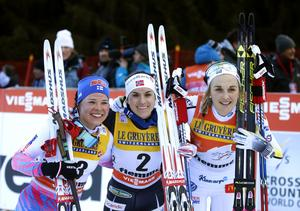 Krista Permakosti, Heidi Weng och Stina NIlsson tog plats på pallen i Tour de Ski.
