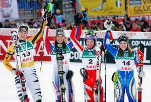 Damtrion i slalom; tvåan Fanny Chmelar, Tyskland, ettan Sandrine Aubert, Frankrike, och treorna Sarka Zahrobska, Tjeckien, och Therese Borssén, Sverige.