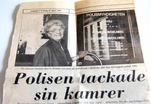 Karin blev uppmärksammad i tidningen när hon avtackades på polishuset.