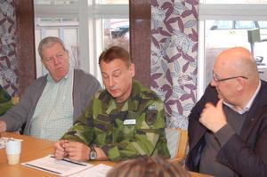 Överstelöjtnant Leif Torin Carlsson, flankerad av skjutfältschefen Kent Bladfält och riksdagsman Ulf Berg, redogör för P4s förslag att dra in den militära personalen från Älvdalens skjutfält.
