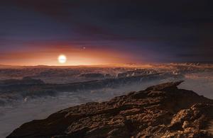 En rekonstruktion av hur den nyupptäckta planeten Proxima b kan tänkas se ut. I bakgrunden syns den röda dvärgstjärnan Proxima Centauri, den närmaste grannen till vår egen sol i Vintergatan.   ESO/TT