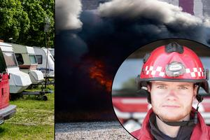 Det slarvas med avstånden på uppställningsplatser för husvagnar och husbilar – konstaterar brandchef Johan Szymanski.Foto: TT/DT-arkiv/Montage