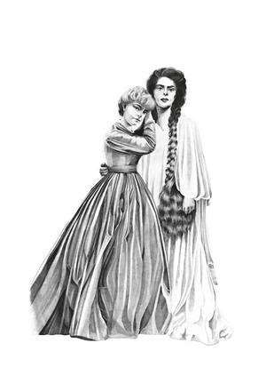 Vampyren Carmilla och hennes älskade Laura. Illustration: Elin Sandström