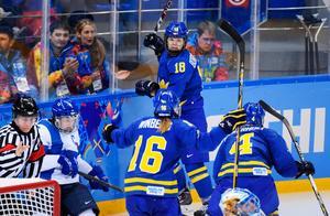 Anna Borgqvist jublar efter ett mål mot Finland i OS i Sochi. Foto: Joel Marklund / BILDBYRÅN.