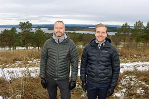 Golfklubbens ordförande Magnus Åsell och vd Tore Wedin, hoppas nå ända fram för en detaljplan vilket i så fall kan inbringa ett antal miljoner kronor till klubbkassan.