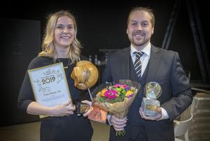 Malin Fastesson och Anders Tryggsäter från Train planet vann pris som årets hållbara företag vid Guldgalan.