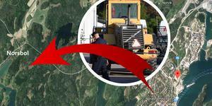 Hjullastaren stals från bygget och kördes till Norsbol där det övergavs.