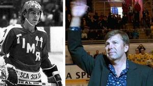 Mats Näslund årgång 1977 och 2015. Bilden till höger togs då Näslunds tröja hissades i Timrå Isstadion i samband med en landskamp. Känslofyllt.Bild: Arkiv