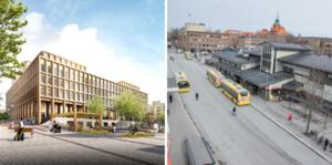 Busstorget idag till höger, förslaget till vänster. Illustration: Krook och Tjäder