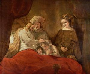 Jakob välsignar Josefs söner Efraim och Manasse. Målning av Rembrandt från 1656.