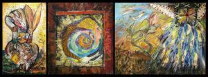 Tre verk av Karin Hoppe Storck som är kommissarien John Franzéns personliga favorit.
