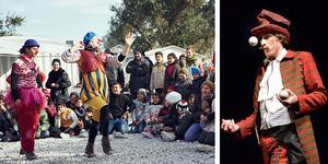 Clowner utan gränser gjorde en akut insamling till en turné till Lesbos, för att locka fram skatt i flyktinglägret Moria. Foto: Alex Hinchcliffe/Pressbild