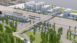Det här är kommunens brovision. Aktörerna på trafikområdet anser dock att gc-bron bör flyttas och gå rakt igenom stationsbyggnaden.Illustration: Ramboll