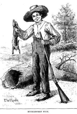 Huckleberry Finn har skjutit en kanin. Illustration av E. W. Kemble från originalutgåvan av
