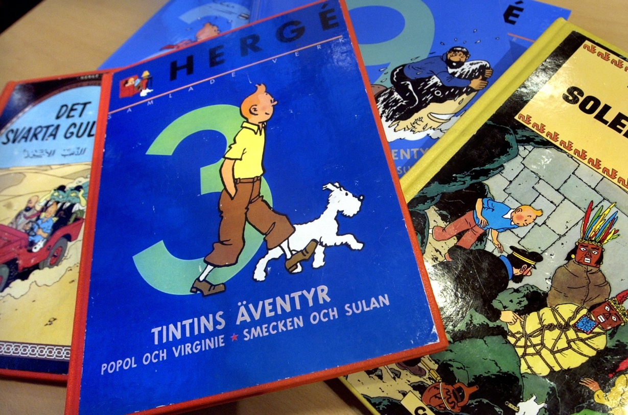 Tintin blir kvar pa biblioteket