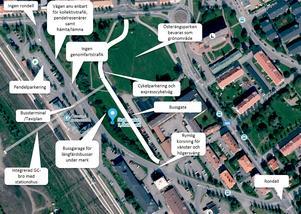 Här är Inlandsbanan, lönstrafiken och Trafikverkets vision över hur man kan bygga ett nytt resecentrum vid tågstationen.Illustration: Inlandsbanan