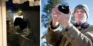 Vanligtvis använder Kenneth Nygren en riktig kamera, men nu låg mobilen närmast till hands när han dokumenterade betongklumpen och den trasiga fönsterrutan.  Foto: Kenneth Nygren/Mattias Holgersson