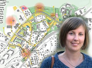 Miljöpartisten Hanna Klingborg är ordförande i Järna kommundelsnämnd. Hon har haft en stor del i framställandet av stukturplanen för nordöstra centrala Järna.  Foto: Montage / Roger Stigell