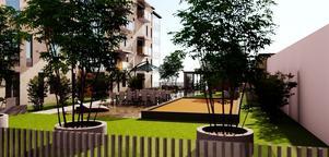 Tomten kommer att ha en upphöjd innergård med grönyta och gårdshus. Skiss: Arkinova Arkitektur