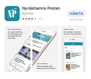 """Det går snabbt att ladda ned vår nyhetsapp. Du hittar den hos App Store eller Google Play. Sök på """"Nynäshamns-Posten""""."""