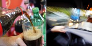 En man körde i diket med en lastbil, efter att ha druckit stora mängder Coca-Cola, som var blandat med vin.